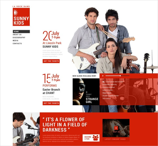 Music Band Responsive Website Template $69
