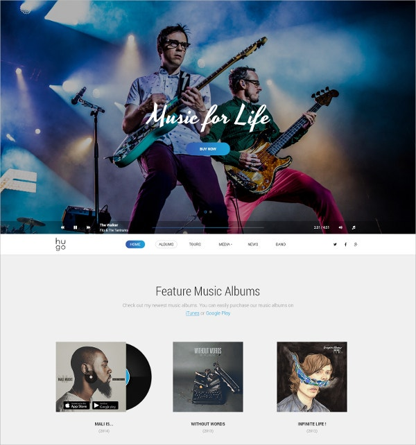 Minimal Music & Bands PSD Website Theme $10