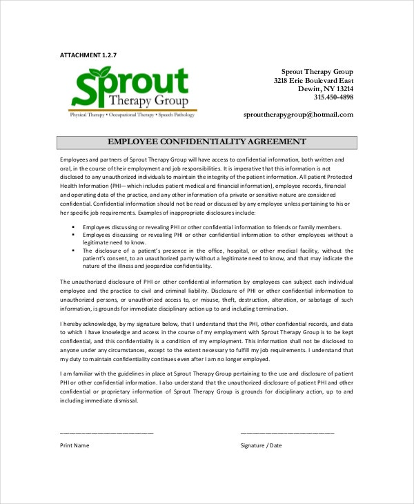 Employee Confidentiality Agreement   Free Word Pdf Documents