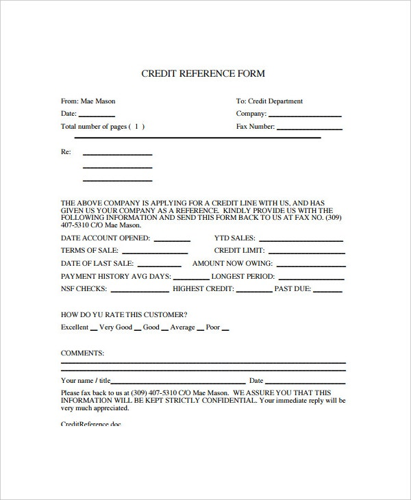 Credit Reference Form Template Download