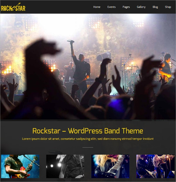 Rockstar Music Band WordPress Website Theme $59