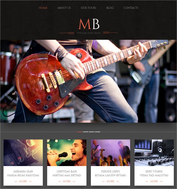 Responsive Music Band WordPress Website Theme $75