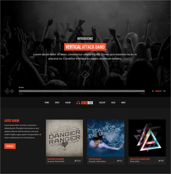 Modern Music And Band WordPress Website Theme $49