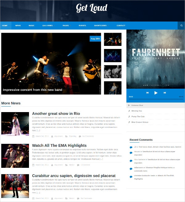 Music Band & Audio WordPress Website Theme $39