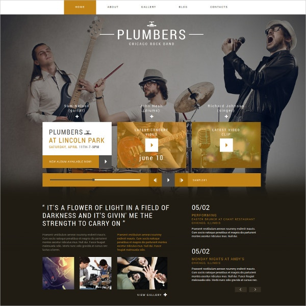 Dream Rock Band Project Joomla Website Template $75