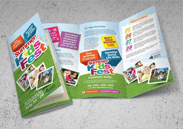 16 summer camp brochures free psd ai eps format for Brochure template for kids