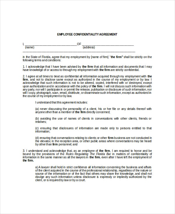 Employee Confidentiality Agreement – 10 Free Word PDF