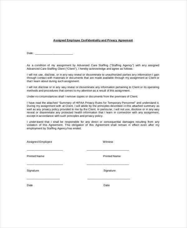 9 employee confidentiality agreement templates samples for Privacy contract template