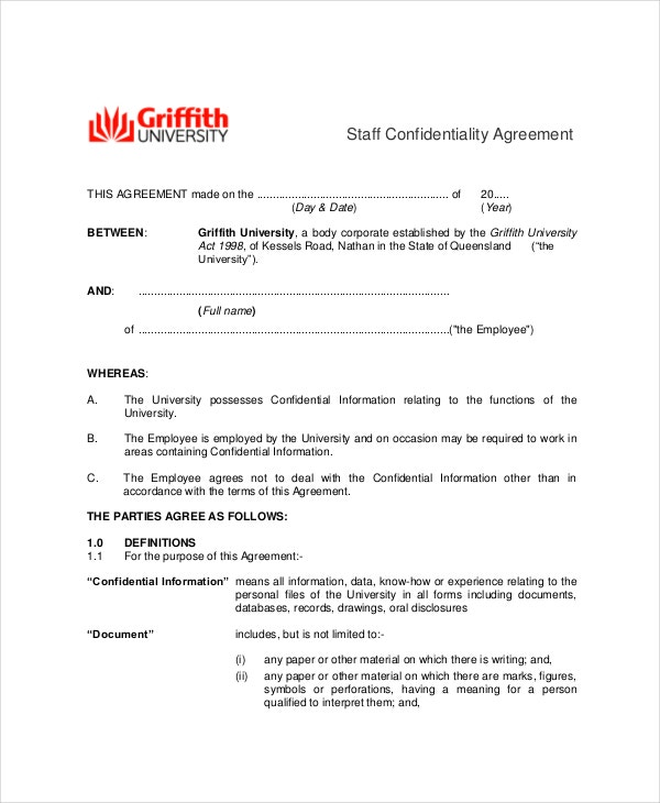 employee staff confidentiality agreement