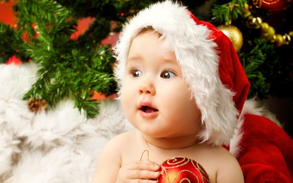 Cute Adorable Baby Santa Wide