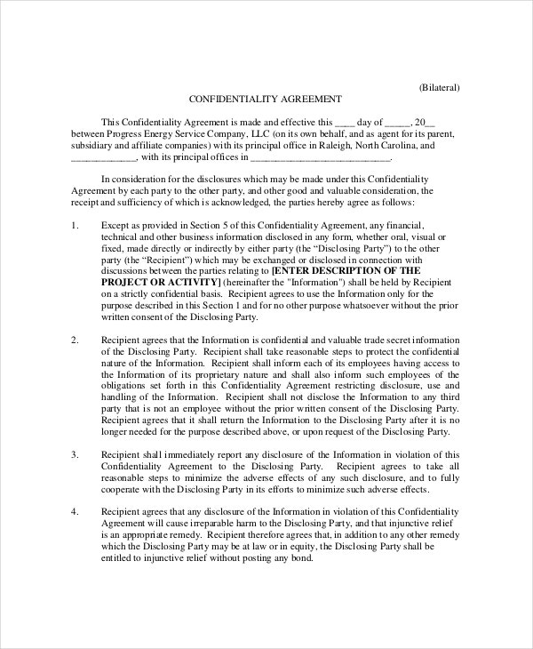 Bilateral Generic Confidentiality Agreement