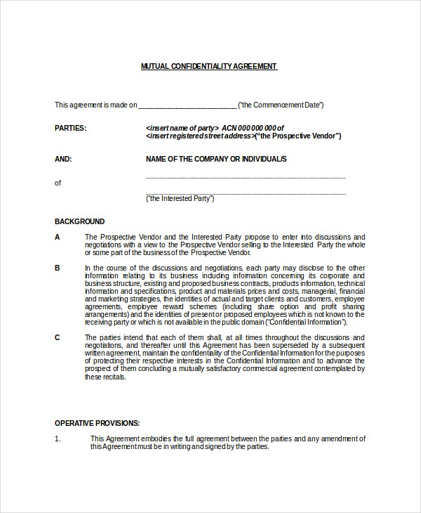 mutual generic confidentiality agreement
