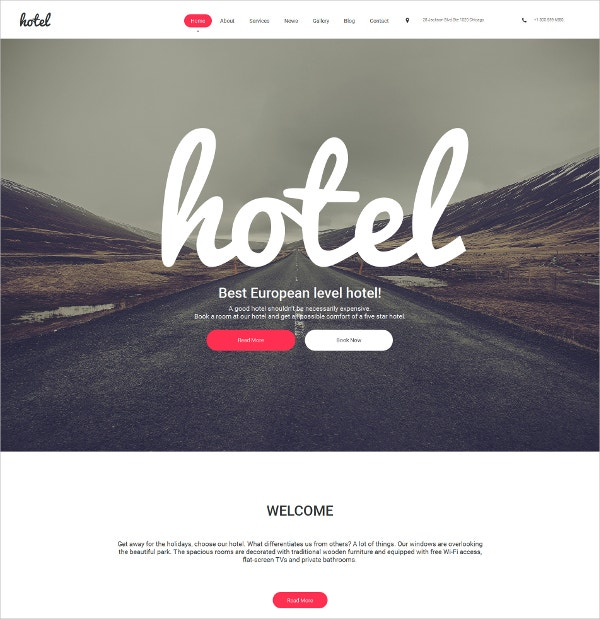 Hotels Responsive Moto CMS 3 Bootstrap Website Template $199
