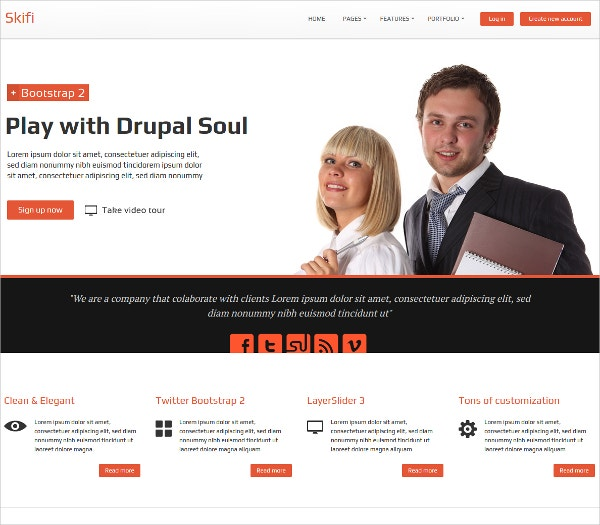Responsive Bootstrap Drupal Website Theme $48