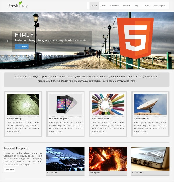 corporate grey website theme bootstrap 9