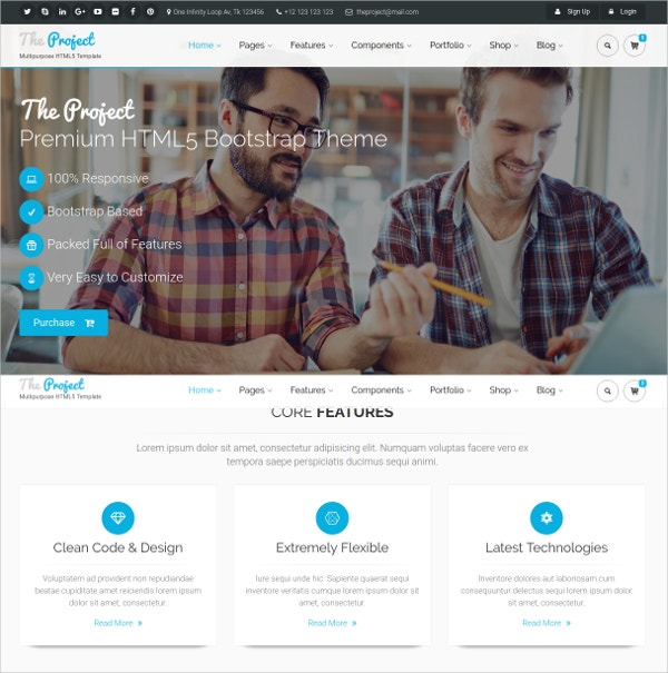 powerful multi concept bootstrap website template 16