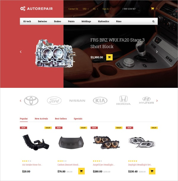 Autorepair Car Parts PrestaShop Bootstrap Website Theme $139