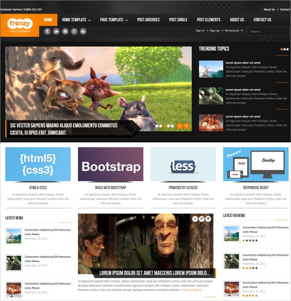 magazine responsive bootstrap website template 17