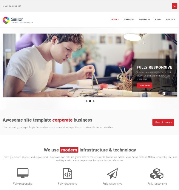 corporate business free bootstrap website theme