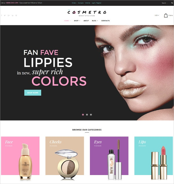 Cosmetic Bootstrap Website WooCommerce Theme $70