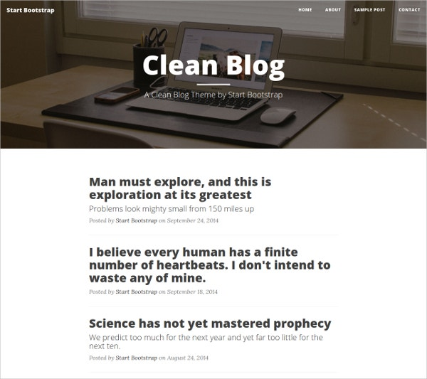 Clean, Bootstrap Blog Website Theme