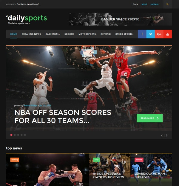 dailysports bootstrap website template 75