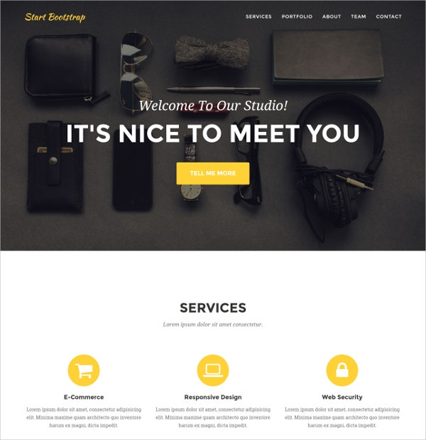 stylish one page bootstrap portfolio website theme