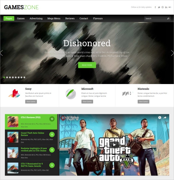Games Zone WordPress Website Theme $54