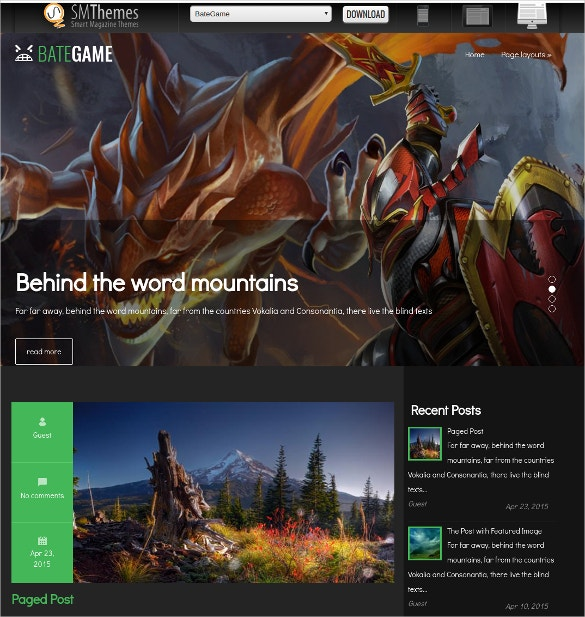 Free Gaming WordPress Website Theme