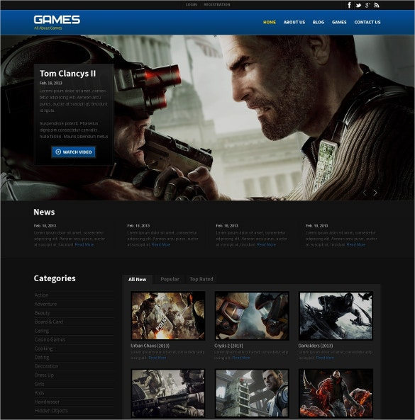 Amazing Games Website Website Template $75