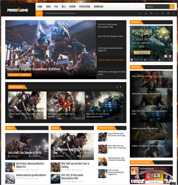 Power Game Responsive Blogger Website Template
