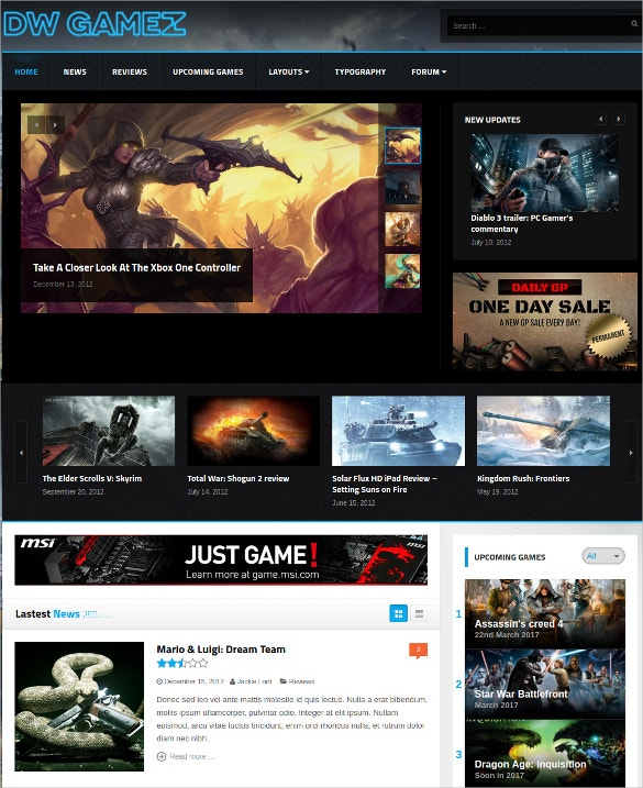 Game Magazine WordPress Website Themes $49