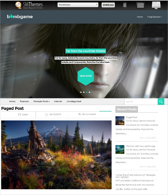 Free Bomb Game WordPress Website Theme