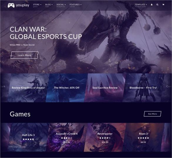 Creative Gaming WordPress Website Theme $59