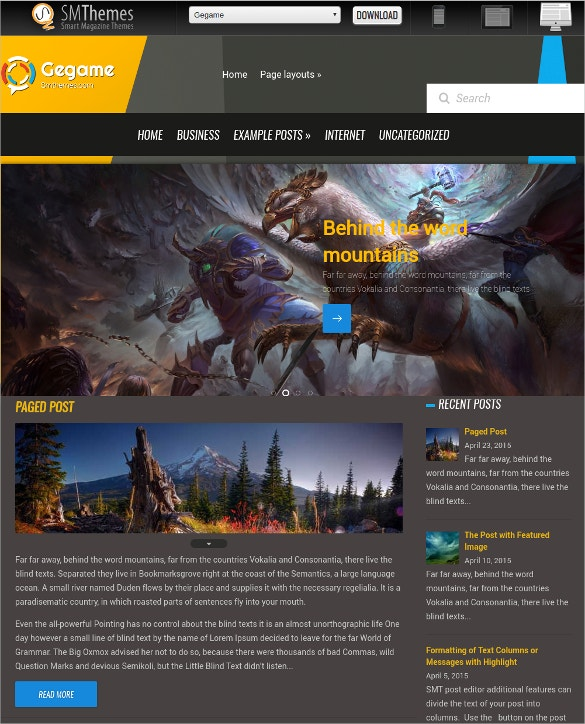 Free Design Gaming WordPress Website Theme