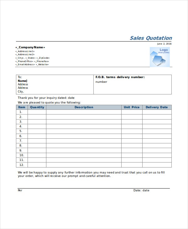 Sample Network Quotation Sales Quotation Template Quotation