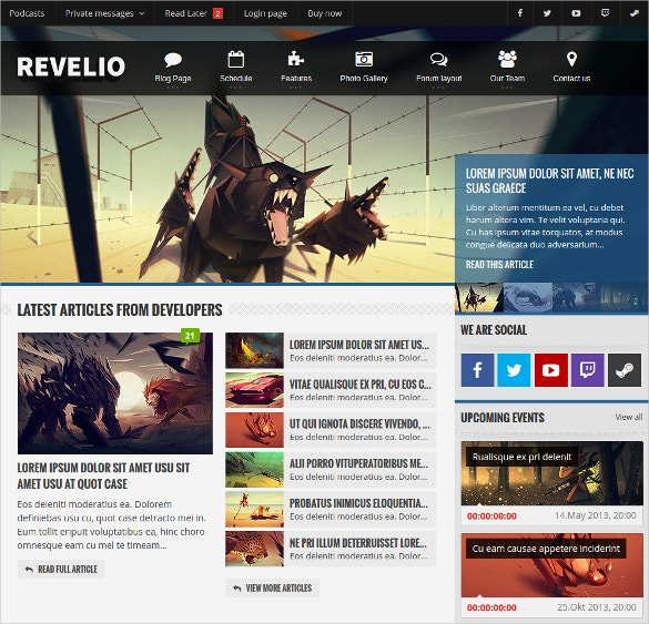 Revelio Gaming Template HTML Website $17