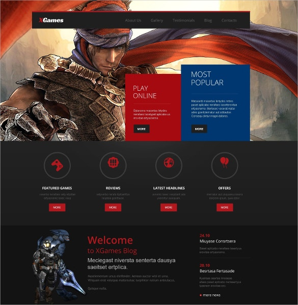 Popular Games Responsive WordPress Website Theme $75