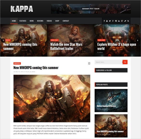 Gaming Gallery WordPress Website Theme $59