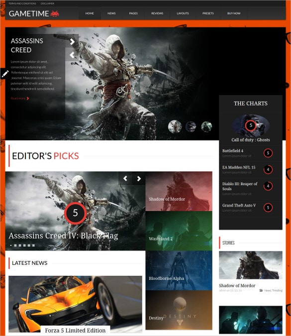 Gametime WordPress Website Magazine Theme $45