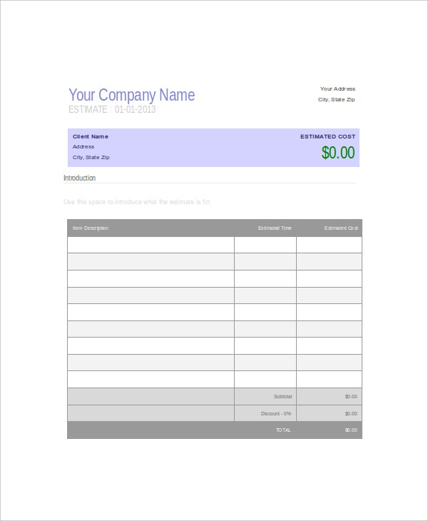 Company Estimate Quotation Microsoft Word Template  Free Quote Form Template
