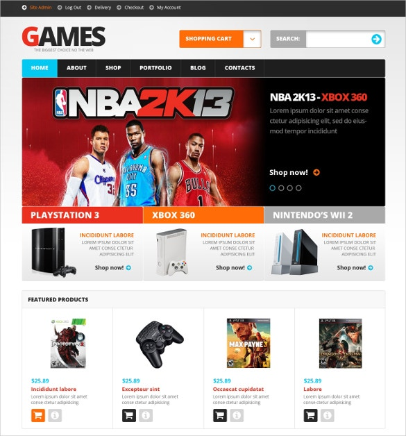 Video Games WooCommerce Website Theme $114