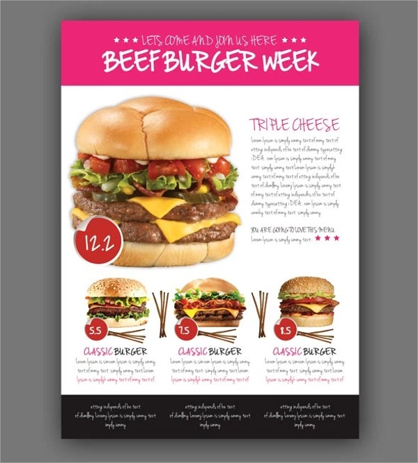 Free Food Burger Menu Flyer Psd