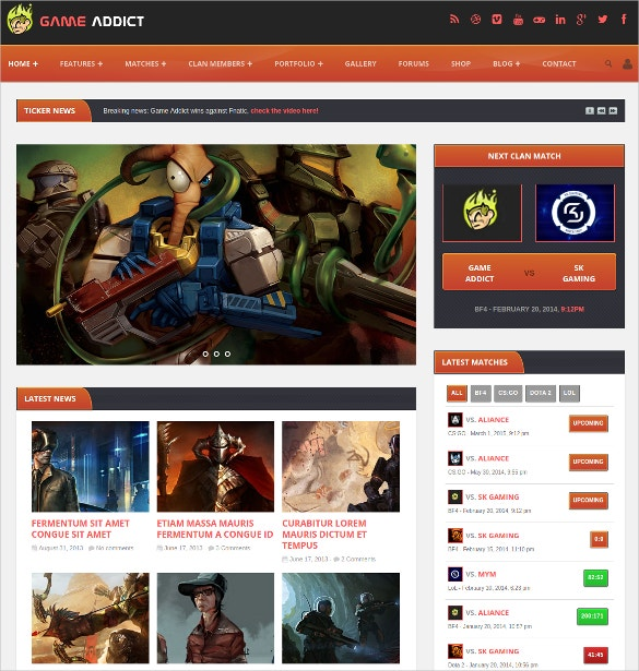 Clan War Gaming Website Template $17