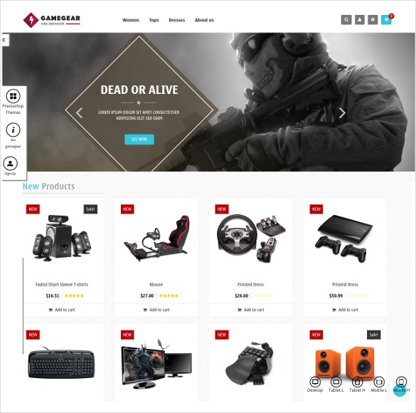 Game Gear Prestashop Website Theme