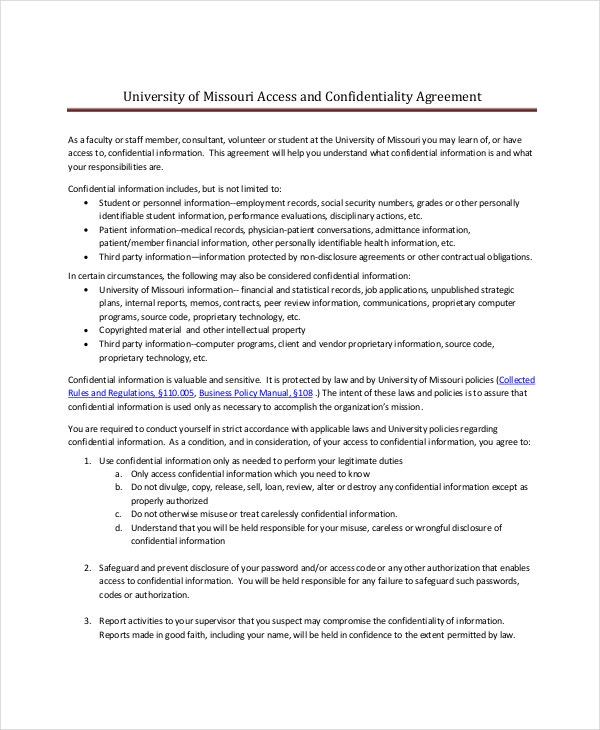 Legal Confidentiality Agreement 8 Free Word PDF Documents – Legal Confidentiality Agreement