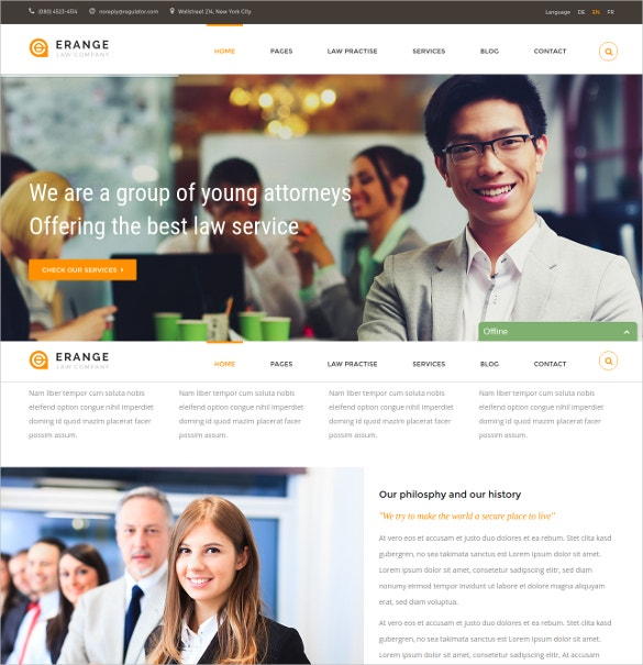 Responsive HTML Website Template For Law Firm $17