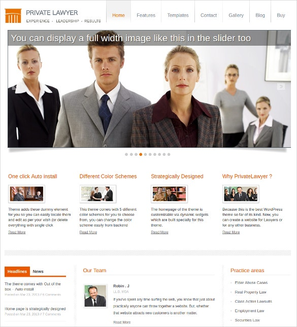 Private Lawyer WordPress Website Theme