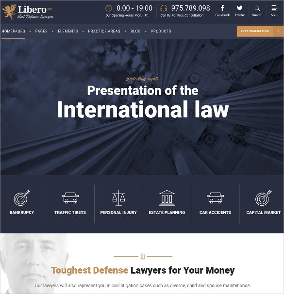 Theme For Lawyers And Law Firms WordPress Website $59