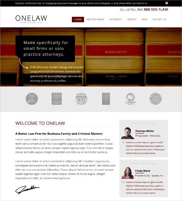 Small Law Firm Website Theme $18